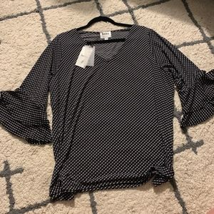 BNWT Polka Dotted Leota Shirt with Bell Sleeve